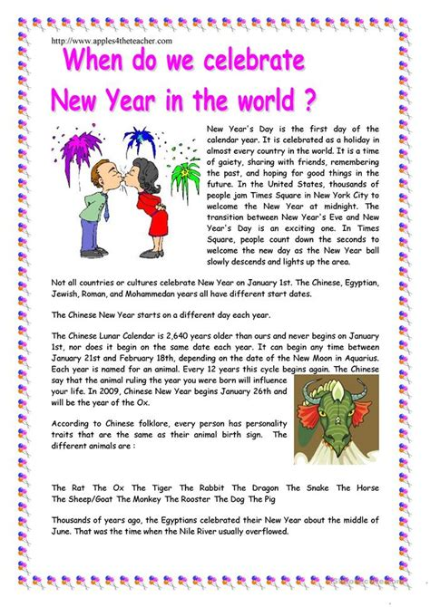 reading comprehension for new year new year reading comprehension worksheets 28 images