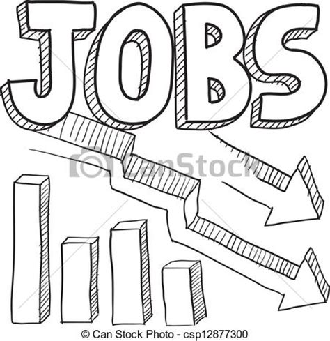 employment clip art free clipart vector clipart of jobs decreasing sketch doodle style