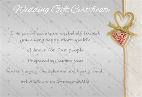 sentimental wedding gift certificate template