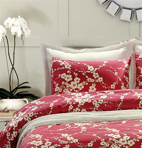 White Bedroom Set King japanese oriental style cherry red blossom floral branches