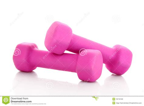 Dumbell Pink pink dumbbells stock photo image 18716100