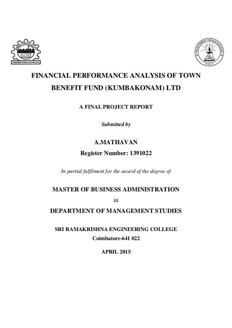 Financial Performance Analysis Project Report For Mba by Financial Performance Analysis