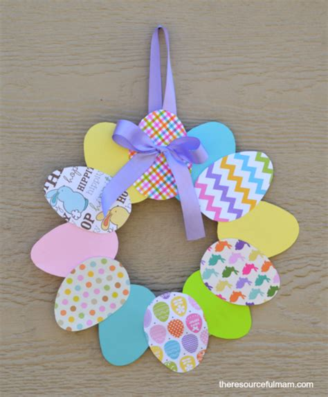 Easter Paper Crafts Free - easy paper easter diy wreath allfreekidscrafts