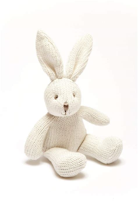 knitted rabbit knitted white bunny rattle the lavender tree