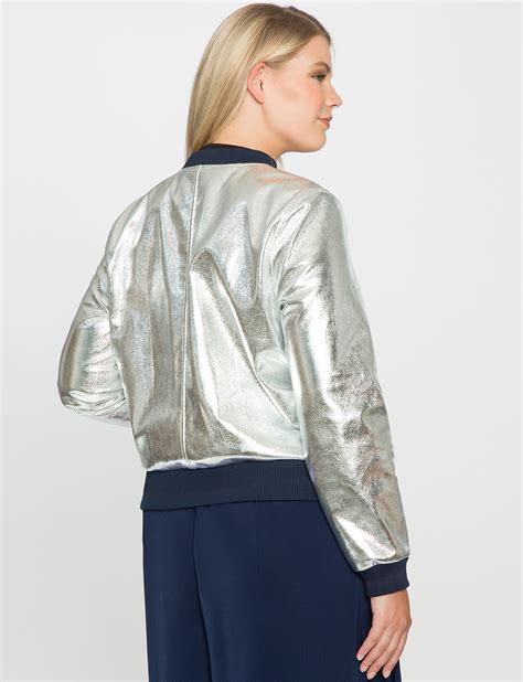 Sporty Jacket sporty metallic bomber jacket s plus size coats