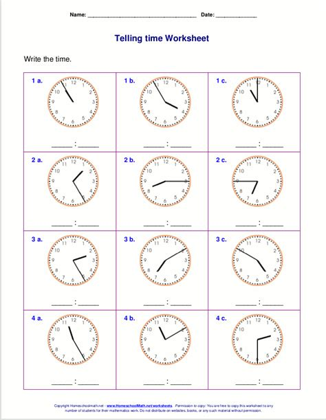 Time Telling Worksheets by Telling Time Worksheets For 2nd Grade