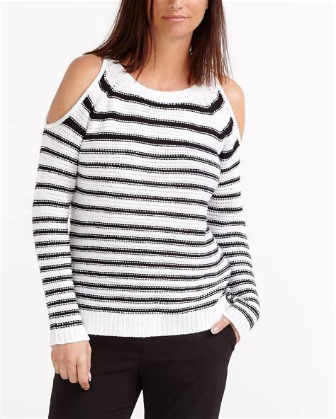 Striped Shoulder Sweater striped bare shoulder sweater reitmans