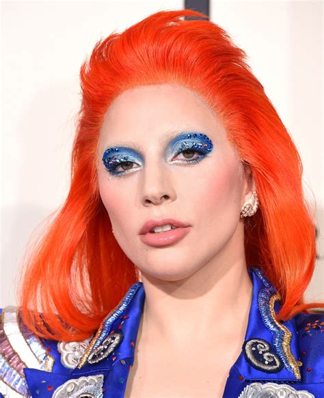 red hair uk singer grammy lady gaga does bright red hair for her grammys david bowie
