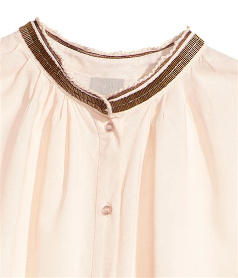 beaded blouse h m blouse with beaded embroidery in beige light beige