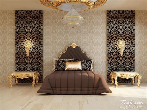 wallpaper with gold accents modern bedroom decoration with gold color accent and brown