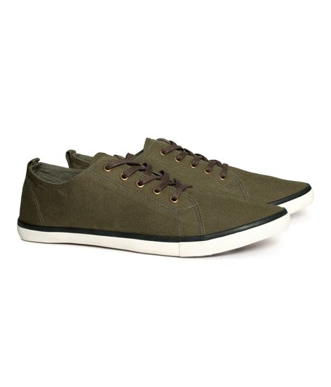 h m mens sneakers h m canvas sneakers in green for lyst