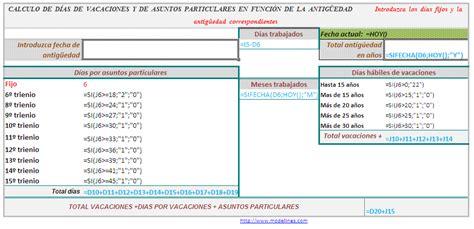 clculo de vacaciones proporcionales 2016 f 243 rmula condicionada c 225 lculo d 237 as a mayores