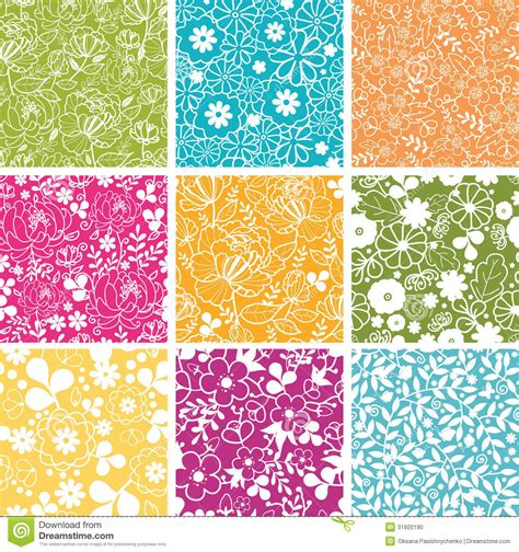 spring background pattern free set of nine spring flowers seamless patterns stock vector