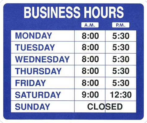 printable business hours sign template business hours sign template free images