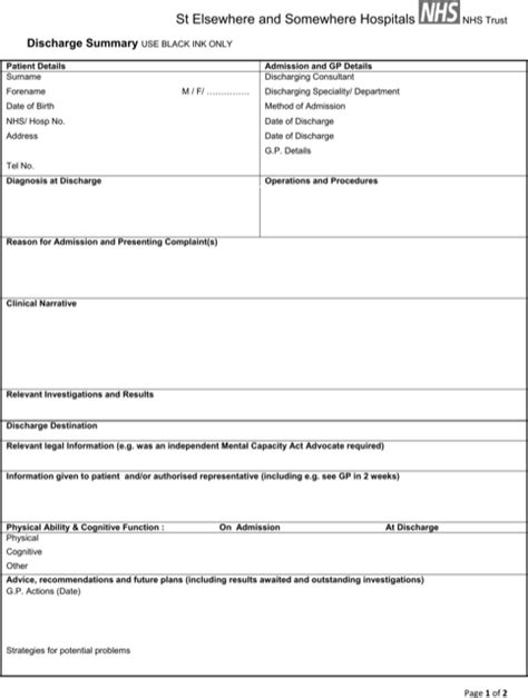 Discharge Form Template by Discharge Summary Template For Excel Pdf And Word