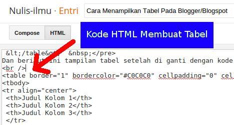 membuat tabel kode html cara menilkan tabel pada blogger blogspot wadah belajar