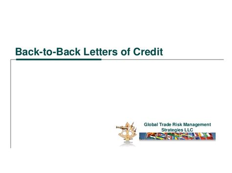 Back To Bank Letter Of Credit Back To Back Letters Of Credit