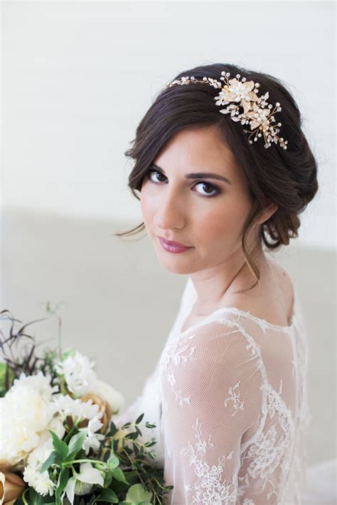hair jewelry for a wedding rose gold and gold crystal bridal headpiece wedding hair