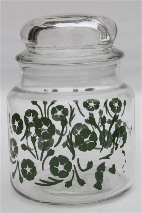 vintage glass canisters kitchen vintage anchor hocking glass kitchen canister jars green