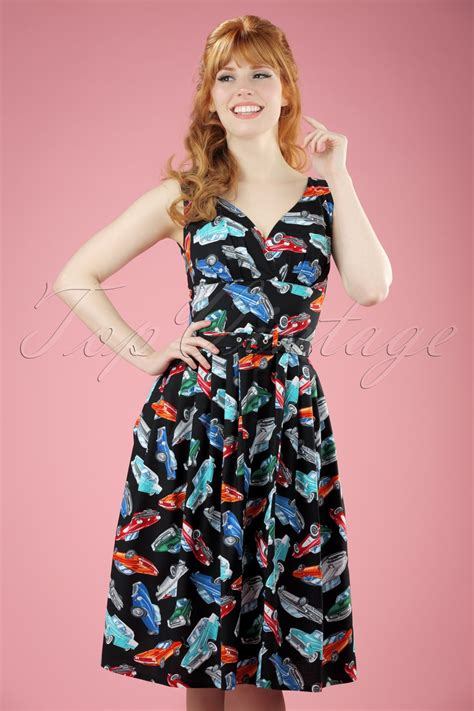 swing cars topvintage exclusive 50s retro cars swing dress in black