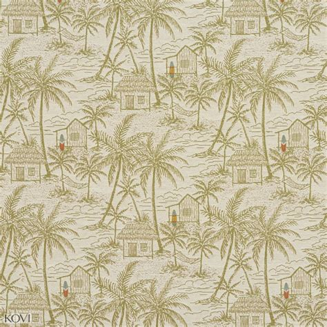 Upholstery Island by Light Green On White Tropical Island With Hut Palm