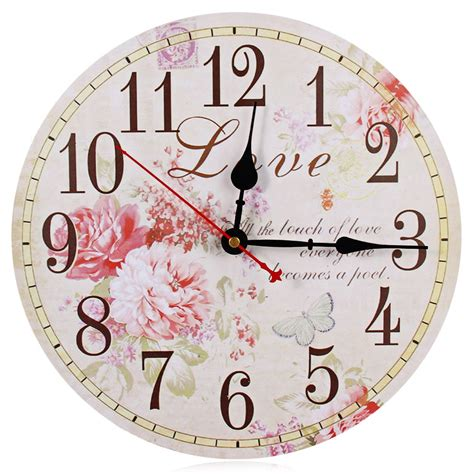 Vintage Wallclock Jam Dinding flower print vintage wooden decorative wall clock free shipping worldwide