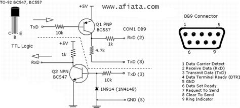 Transistor Tr Bc557 Bc 557 Pnp usb to serial converter electronic circuit diagram and