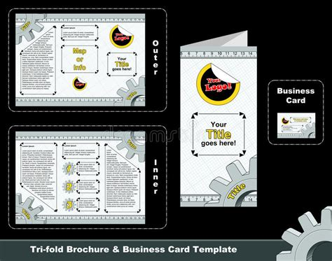 tri fold card template for photographers tri fold depliant and business card template stock images