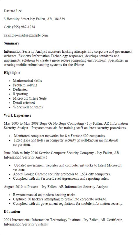 information security resume template professional information security analyst templates to