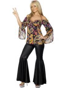 Details about women 1960s hippie hippy fancy dress costume w flares