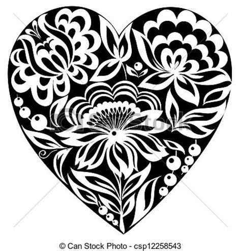 imagenes de corazones a blanco y negro eps vector de silueta coraz 243 n flores 233 l blanco y negro