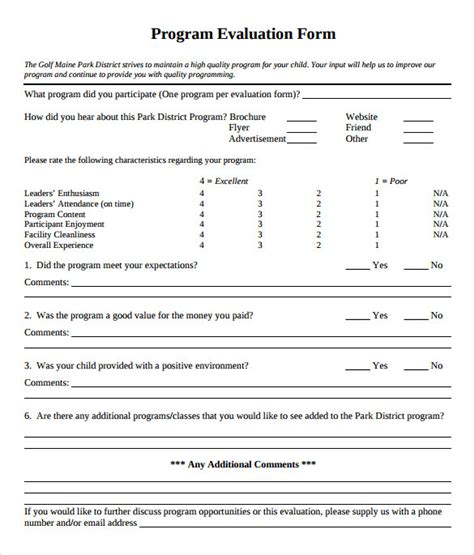 program evaluation form 7 download free documents in
