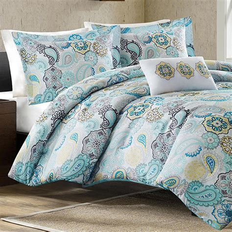 queen comforter set mizone tamil blue full queen comforter set free shipping