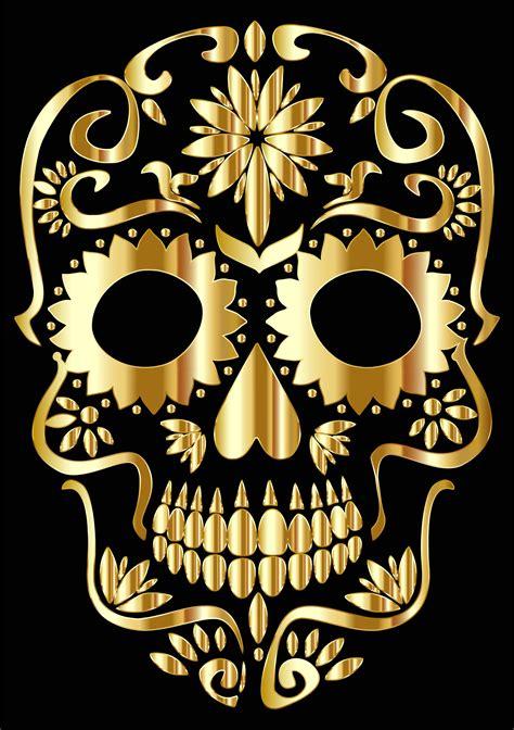 clipart gold sugar skull silhouette