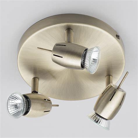 Kitchen Ceiling Plate Lights Frank 3 Light Ceiling Spotlight Plate Antique Brass From