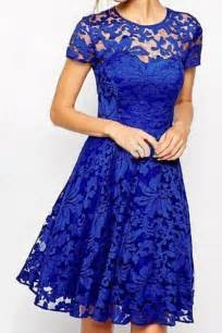 stylish round neck short sleeve solid color lace dress for