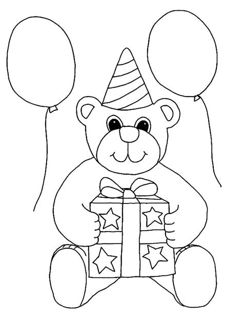 happy birthday teddy bear coloring page happy birthday teddy bear coloring page download free
