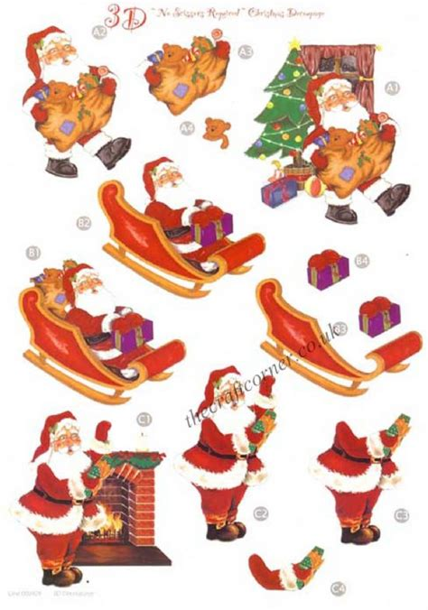 Decoupage Cut Outs - santa sleigh die cut 3d decoupage sheet