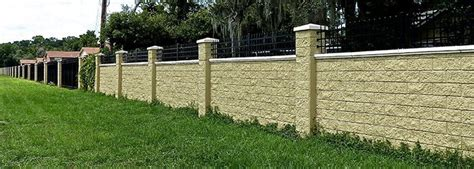 Boundary Wall Design by Security Fence Panels Stonetree 174 Concrete Fence Systems