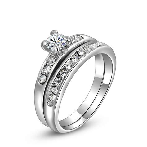 bellen encrusted cubic zirconia platinum plated ring