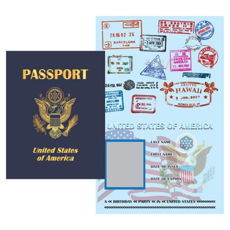 50 Off Play Passport United States Pdf Digital File Wonderfuldreamland On Artfire Us Passport Template