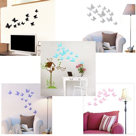 12pcs 4 colors 3d butterfly art decals room wall stickers