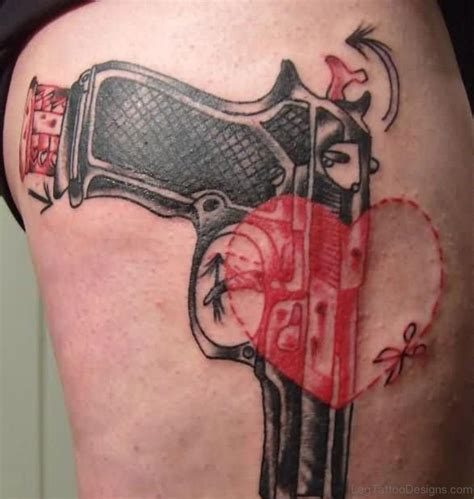 gun tattoos on thigh 72 delightful gun tattoos on thigh
