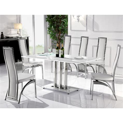 White Glass Dining Table Sets Dining Table In White Glass With 6 Dining Chairs