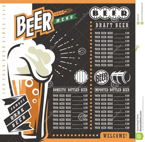 beer menu retro design template stock vector
