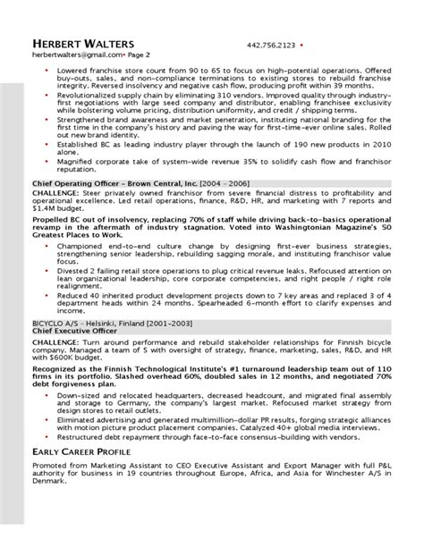 sample senior operations excutive resume