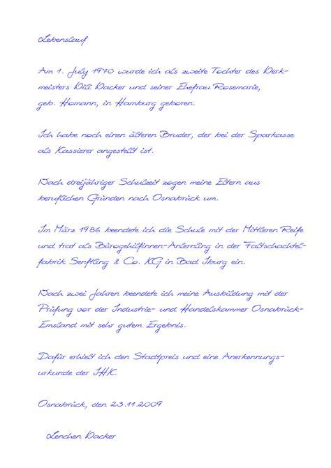 Lebenslauf Muster In Textform Handgeschriebener Lebenslauf Muster24 Net