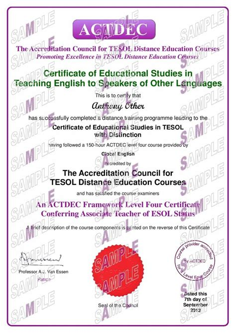 Certificate Of Studentship Global Engineer 180 hour level 4 tesol with one to one global