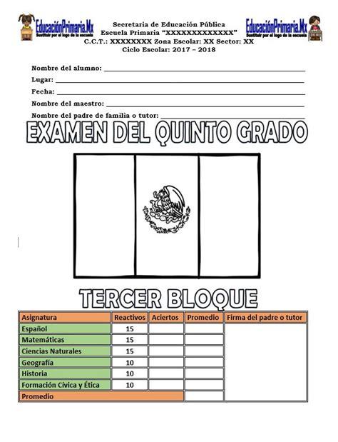 examen del cuarto grado del tercer bloque del ciclo examen del quinto grado del tercer bloque del ciclo