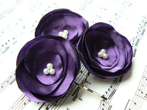 Bridal Flower Hair Clip Set purple wedding bridal flower hair set of 3